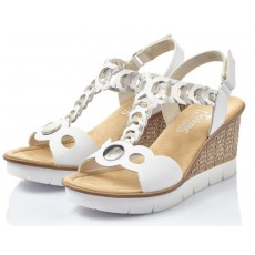 Rieker Wedge Sandal White/Silver Detail