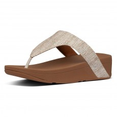FitFlop Lottie Glitter Stripe Toe-Thongs Stone