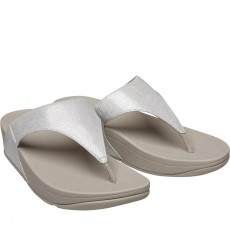 FitFlop Lulu Leather Toepost Silver