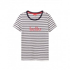 Joules Carley Print Classic Crew With Chain Stitch Detail