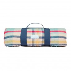 Joules Picnic Checked Blanket Woven Checked Blanket Cream Check