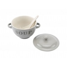 """Soup"" Soup Bowl With Spoon Grey"