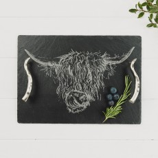 Just Slate Medium Highland Cow Serving Tray