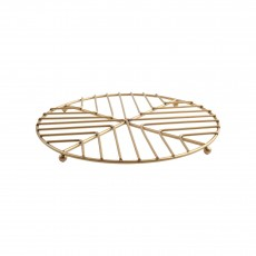 Deco Round Trivet In Satin Gold