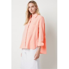 French Connection Siti Oxford RlXd Popover Shirt Neon Orange