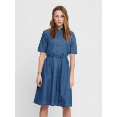 Jacqueline De Yong Roger 2/4 Below knee Shirt Dress Med Blue Denim