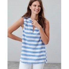 Joules Juliette Sleeveless V Neck Top Blue Cream Stripe