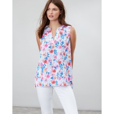 Joules Juliette Print Sleeveless V Neck Top White Multi Floral