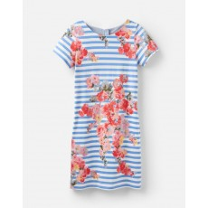 Joules Ottie Blue Stripe Floral Short Sleeve Shift Dress