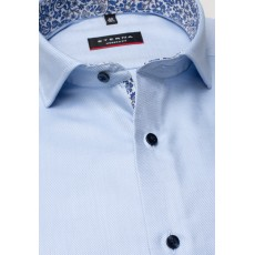 Eterna Modern Fit Shirt Mid Blue with Floral Trim