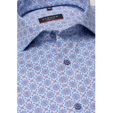 Eterna Modern Fit Shirt Blue/Orange Print