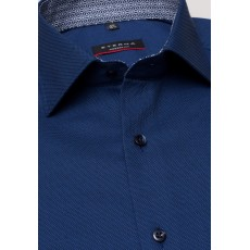 Eterna Modern Fit Shirt Navy with Geo Trim