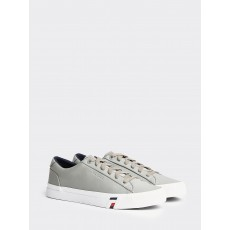 Tommy Hilfiger Corporate Leather Sneaker Ptint Antique Silver
