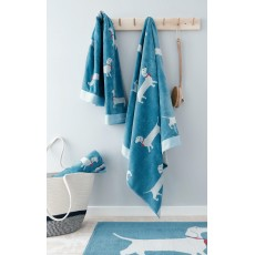 Joules Sausage Dog Towel Blue