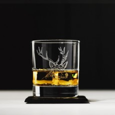 Just Slate Stag Engraved Glass Tumbler Gift Set