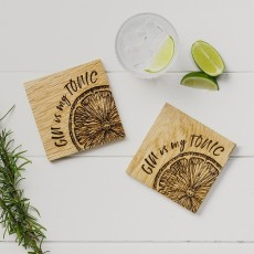 Scottish Made Gin Is My Tonic Oak Coaster Set 2