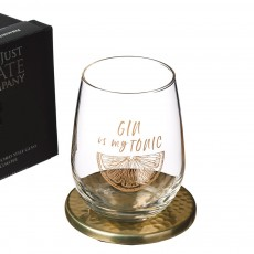 Just Slate Gold Gin Is My Tonic Engraved Glass Tumbler+Gold Coaster