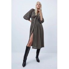 French Connection Cora Pleated Dress Tarmac Khaki