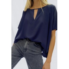 French Connection Alicia Light Short Sleeve Top Utility Blue