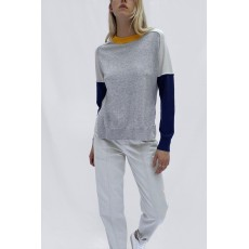 French Connection Kra Colour Block Jumper Light Grey Mel