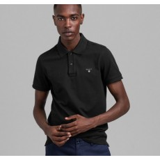 Gant Contrast Collar Pique Black Short Sleeve Rugger Shirt