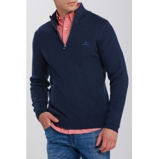 Gant Cotton Texture Blue Half Zip Jumper
