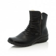 Rieker Black Mid Length Side Zip Boot