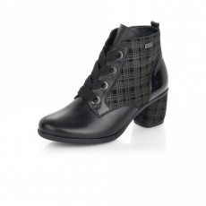 Remonte Black Pattern Small Heeled Ankle Boot