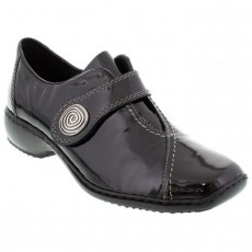 Rieker Black and Grey Patterned Cross Strap Shoe