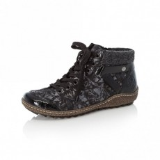 Rieker Black and Grey Patterned Boot