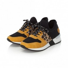 Rieker Black and Leopard Print Trainer