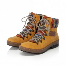 Rieker Golden Brown and Orange Multi Coloured Lace Up Boot