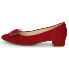 Gabor Red Velvet Small Heeled Shoe