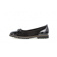 Gabor Black Velvet and Shiny Slip on Shoe