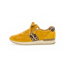 Gabor Mustard Yellow and Leopard Print Trainer