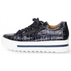Gabor Navy and White Croc Print Trainer