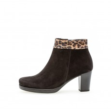 Gabor Black and Leopard Print Heeled Ankle Boot