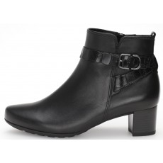 Gabor Black Croc Print Heeled Ankle Boot