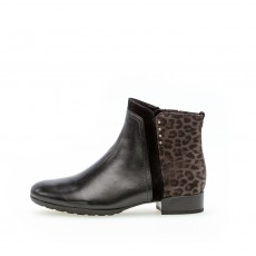 Gabor Black and Leopard Print Ankle Boot