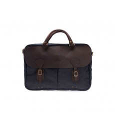 Barbour Wax Leather Briefcase Black