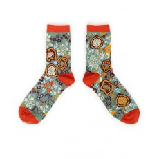 Powder Ankle Sock Floral Moss