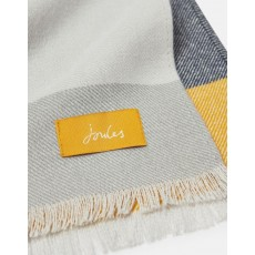 Joules Bridey Scarf  Cream, Grey & Yellow Check