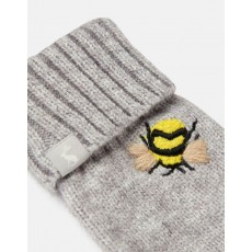 Joules Stafford Gloves Grey Embroidered Bee