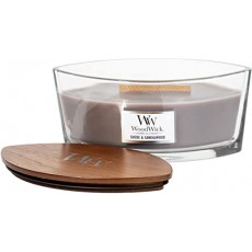 Woodwick Suede Sandalwood Ellipse Candle