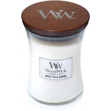 Woodwick Medium Hourglass Candle With Pluswick White Tea & Jasmine