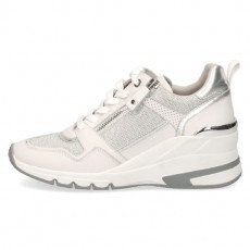 Caprice White Leather Wedged Sole Trainer