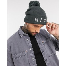 Nicce Bobble Hat Charcoal
