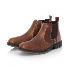 Rieker Two Tone Brown Horse Riding Style Slip on Ankle Boot