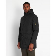 Lyle & Scott  Wadded Long Line Black Parka Jacket