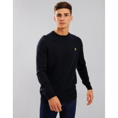 Lyle & Scott  Crew Neck Cotton Merino Black Jumper